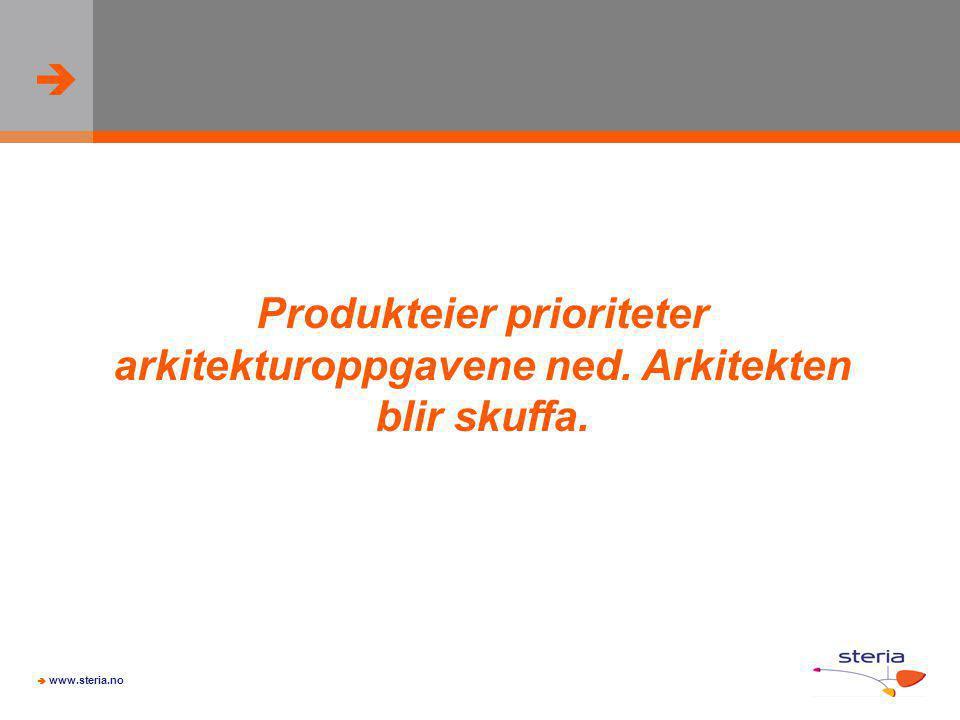   www.steria.no Produkteier prioriteter arkitekturoppgavene ned. Arkitekten blir skuffa.