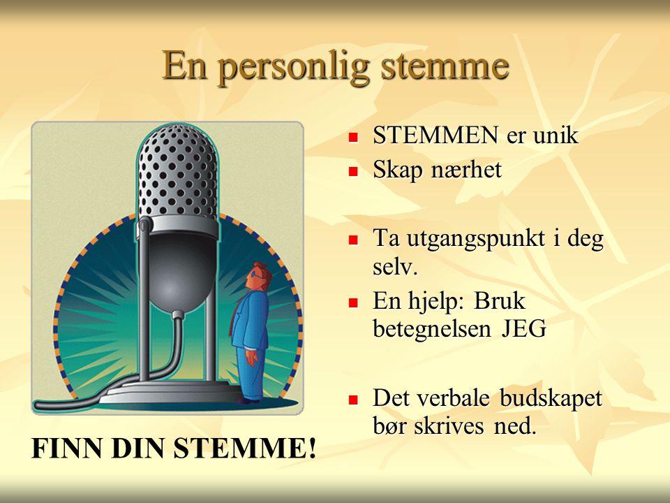 En personlig stemme  STEMMEN er unik  Skap nærhet  Ta utgangspunkt i deg selv.