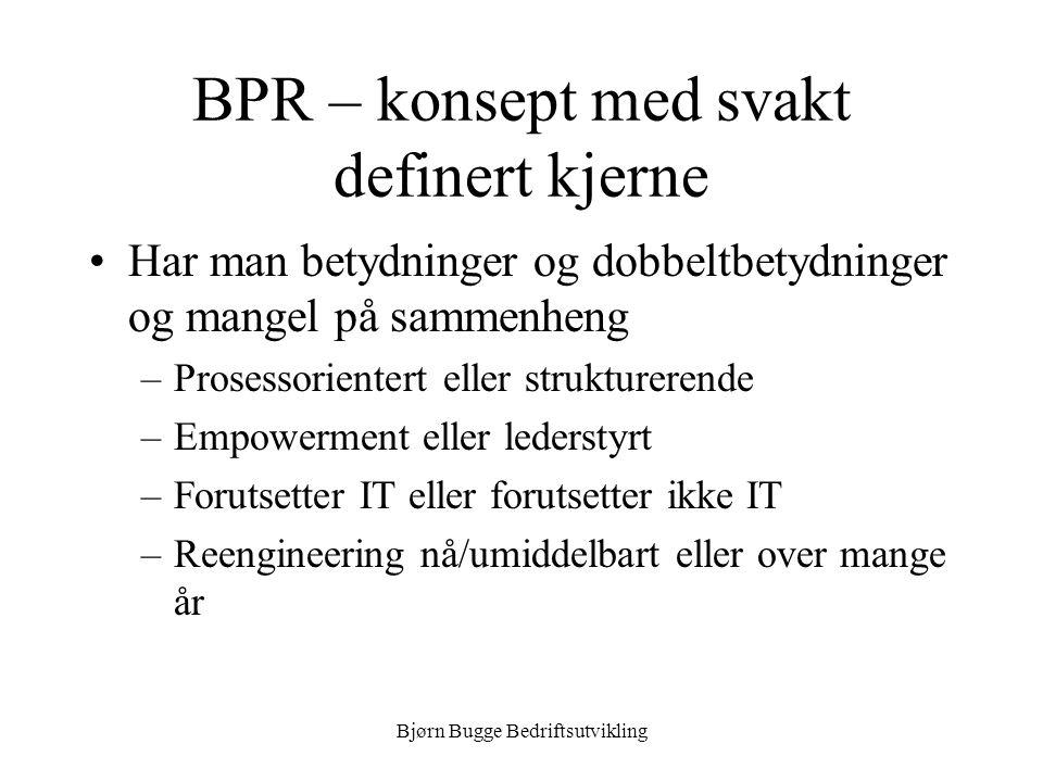 Bjørn Bugge Bedriftsutvikling BPR – konsept med svakt definert kjerne •Har man betydninger og dobbeltbetydninger og mangel på sammenheng –Prosessorien