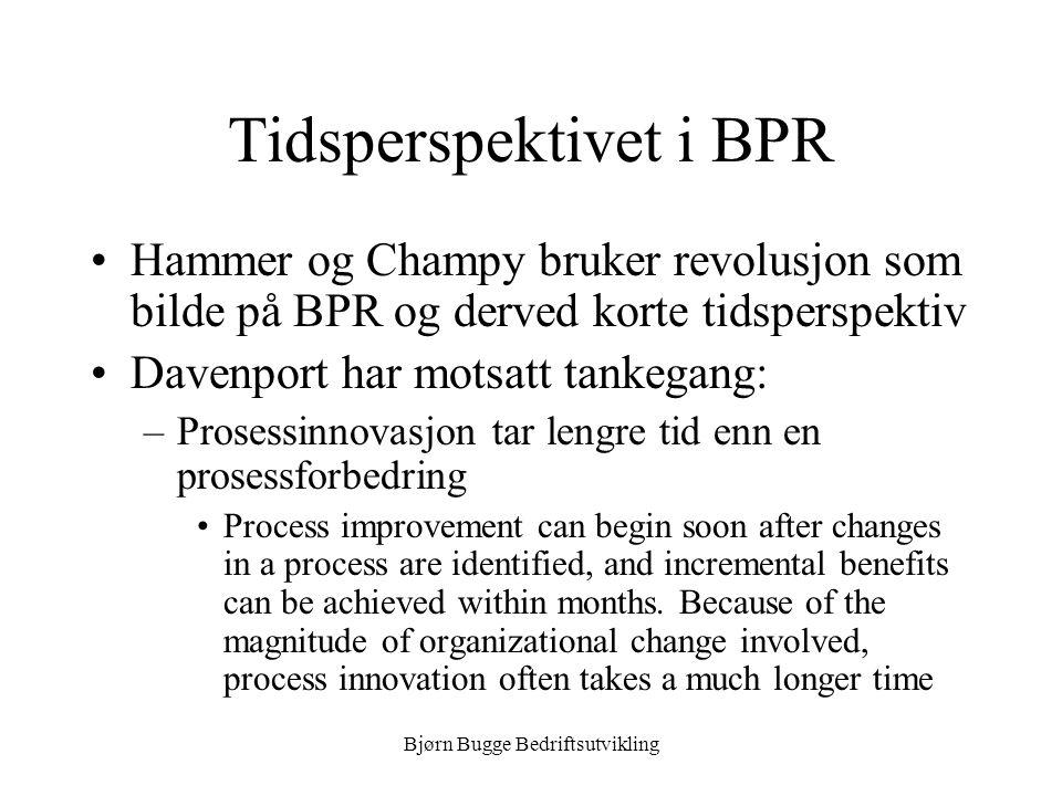 Bjørn Bugge Bedriftsutvikling BPR som revolusjon •Hammer og Champy's nøkkelord –Fundamental –Radikal –Dramatisk –Prosess