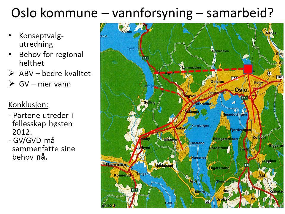 Oslo kommune – vannforsyning – samarbeid? • Konseptvalg- utredning • Behov for regional helthet  ABV – bedre kvalitet  GV – mer vann Konklusjon: - P