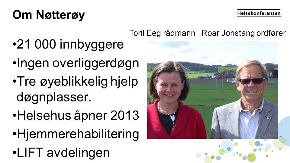 Om Nøtterøy •21 000 innbyggere •Ingen overliggerdøgn •Tre øyeblikkelig hjelp døgnplasser. •Helsehus åpner 2013 •Hjemmerehabilitering •LIFT avdelingen