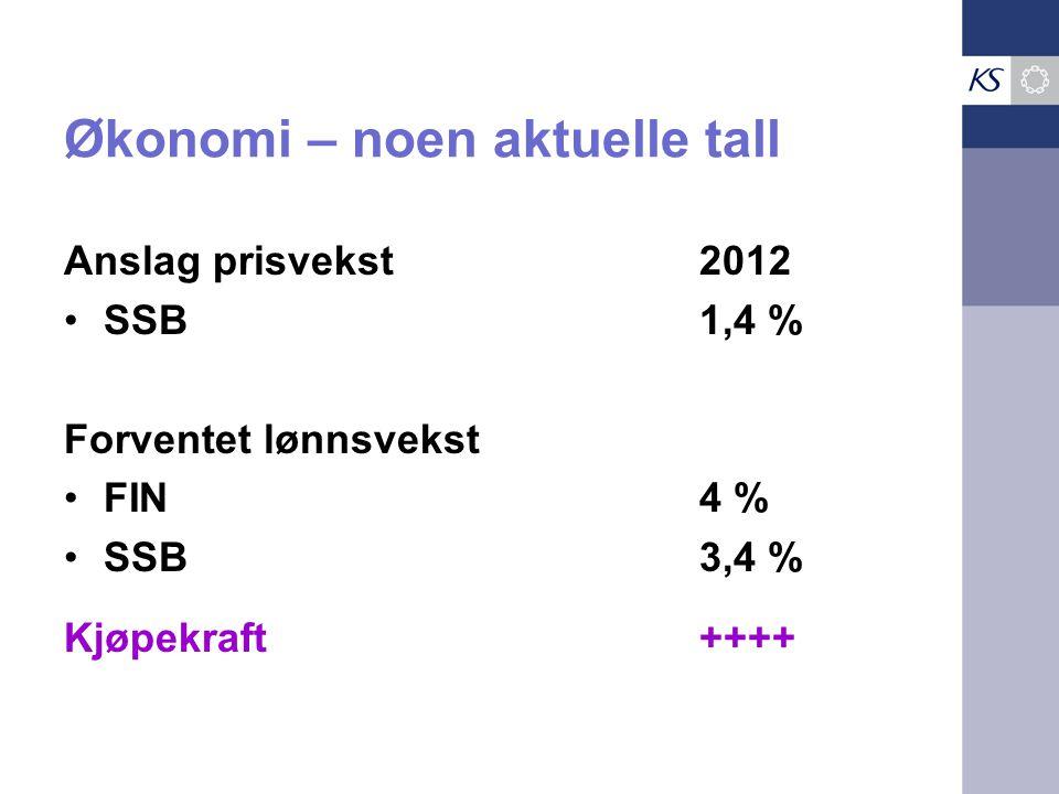 Økonomi – noen aktuelle tall Anslag prisvekst2012 •SSB1,4 % Forventet lønnsvekst •FIN4 % •SSB3,4 % Kjøpekraft++++