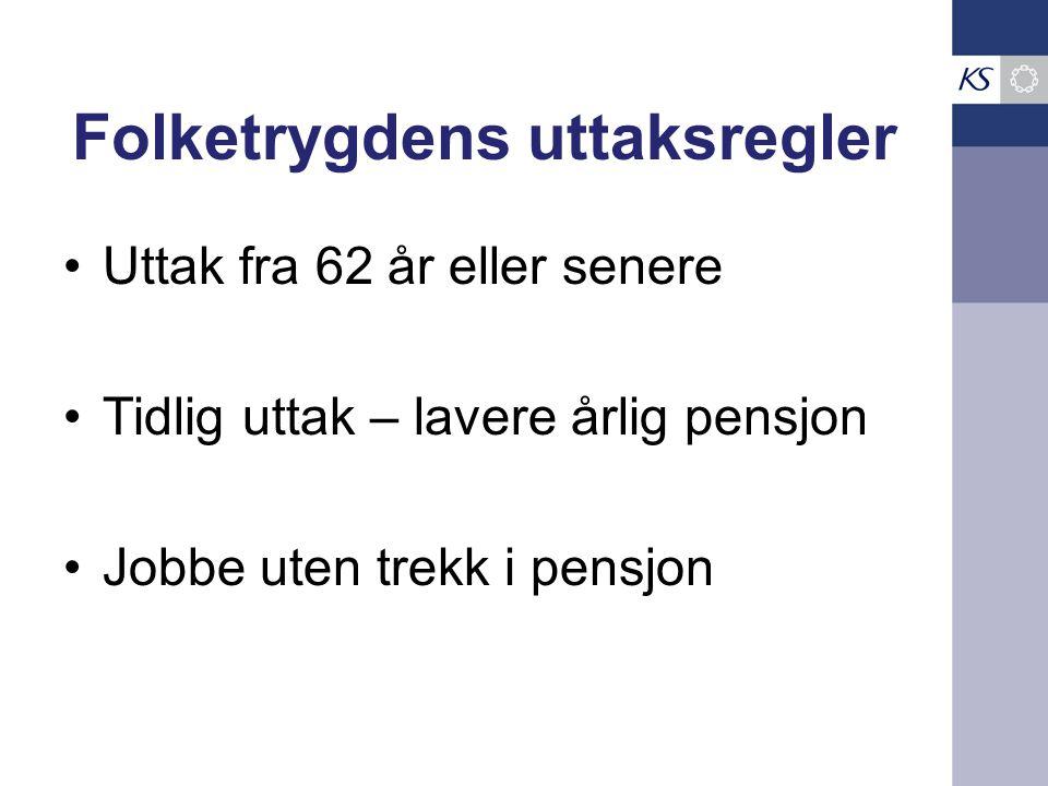 Folketrygdens uttaksregler •Uttak fra 62 år eller senere •Tidlig uttak – lavere årlig pensjon •Jobbe uten trekk i pensjon