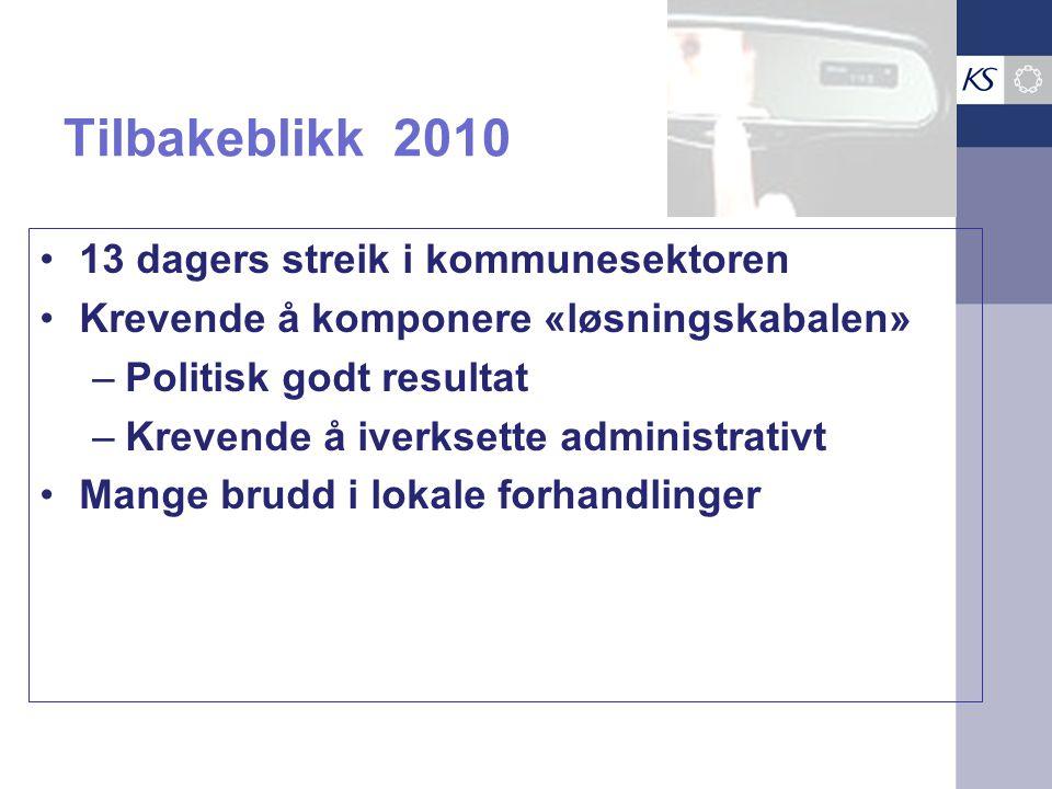Tilbakeblikk 2010 •13 dagers streik i kommunesektoren •Krevende å komponere «løsningskabalen» –Politisk godt resultat –Krevende å iverksette administrativt •Mange brudd i lokale forhandlinger