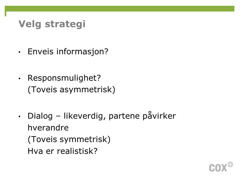 Velg strategi • Enveis informasjon? • Responsmulighet? (Toveis asymmetrisk) • Dialog – likeverdig, partene påvirker hverandre (Toveis symmetrisk) Hva