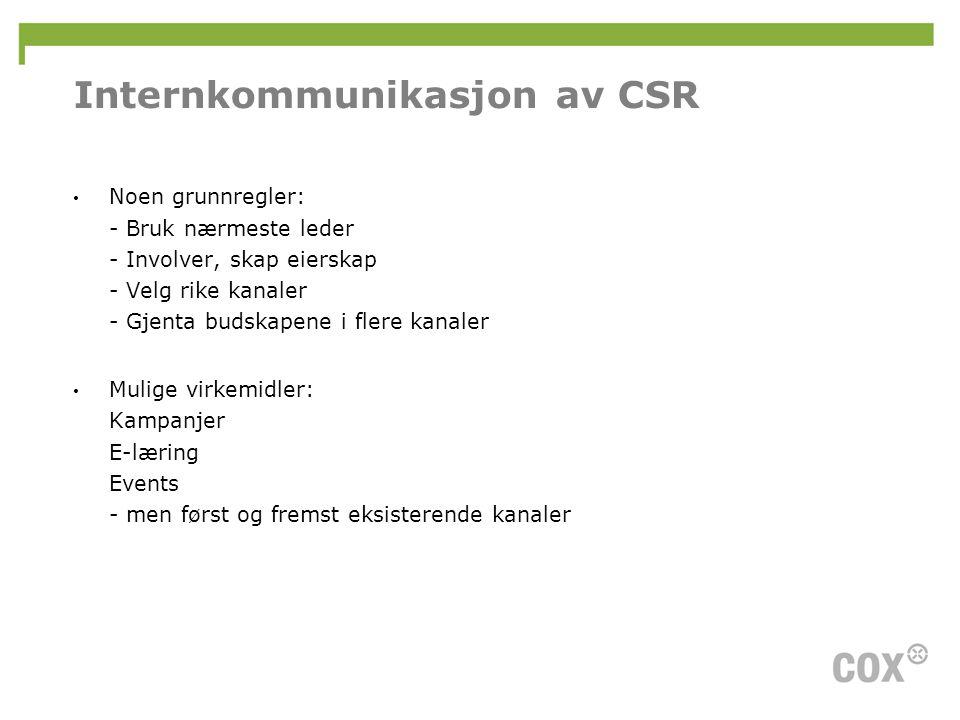 Internkommunikasjon av CSR • Noen grunnregler: - Bruk nærmeste leder - Involver, skap eierskap - Velg rike kanaler - Gjenta budskapene i flere kanaler