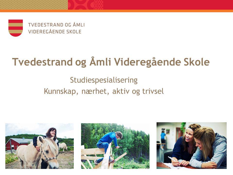 Tvedestrand og Åmli Videregående Skole Studiespesialisering Kunnskap, nærhet, aktiv og trivsel