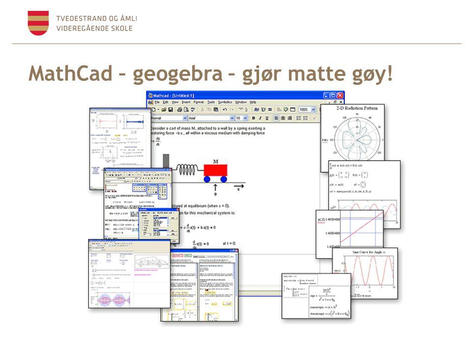 MathCad – geogebra – gjør matte gøy!