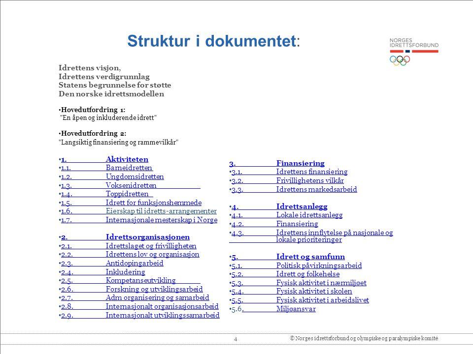 5© Norges idrettsforbund og olympiske og paralympiske komité Ny visjon: Idrettsglede for alle Stor enighet i organisasjonen om at visjonen endres fra: Idrett for alle idrettsglede for alle