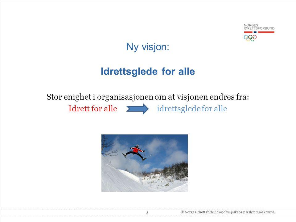 5© Norges idrettsforbund og olympiske og paralympiske komité Ny visjon: Idrettsglede for alle Stor enighet i organisasjonen om at visjonen endres fra: