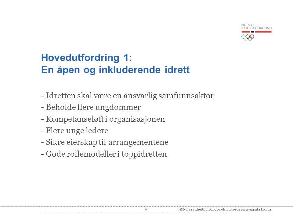 6© Norges idrettsforbund og olympiske og paralympiske komité Hovedutfordring 1: En åpen og inkluderende idrett - Idretten skal være en ansvarlig samfu