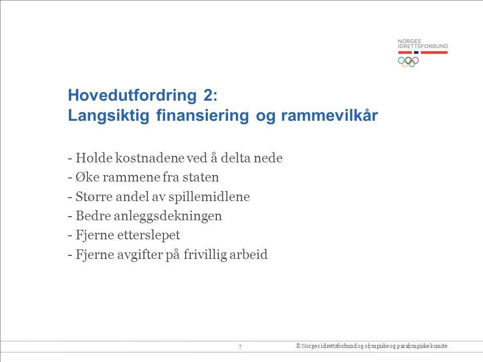 7© Norges idrettsforbund og olympiske og paralympiske komité Hovedutfordring 2: Langsiktig finansiering og rammevilkår - Holde kostnadene ved å delta
