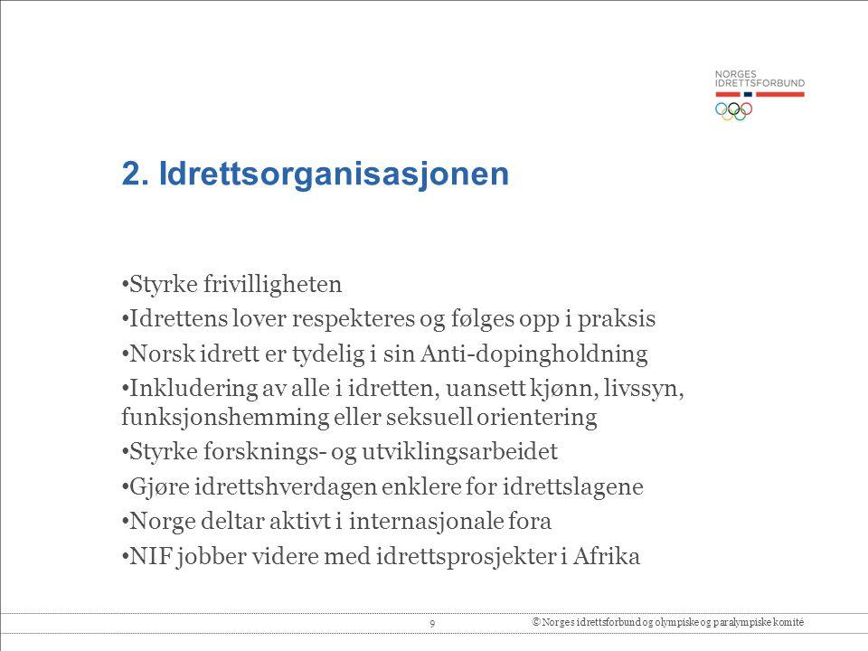 9© Norges idrettsforbund og olympiske og paralympiske komité 2. Idrettsorganisasjonen • Styrke frivilligheten • Idrettens lover respekteres og følges