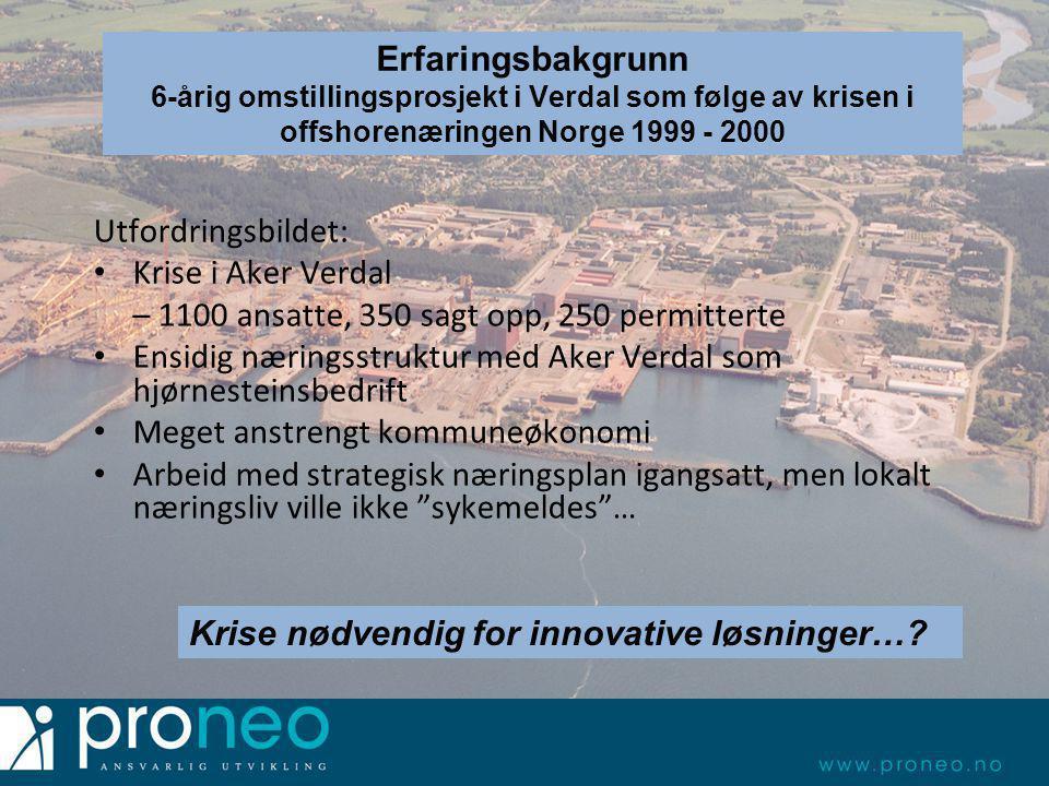 Hvorfor Innherred Vekst – Nyskapings- og utviklingskommunen Verdal Utfordringsbildet: • Krise i Aker Verdal – 1100 ansatte, 350 sagt opp, 250 permitte