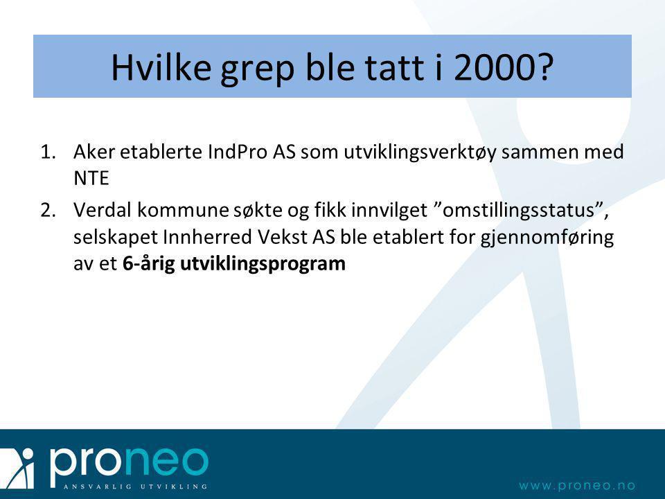 """Hvilke grep ble tatt i 2000? 1.Aker etablerte IndPro AS som utviklingsverktøy sammen med NTE 2.Verdal kommune søkte og fikk innvilget """"omstillingsstat"""