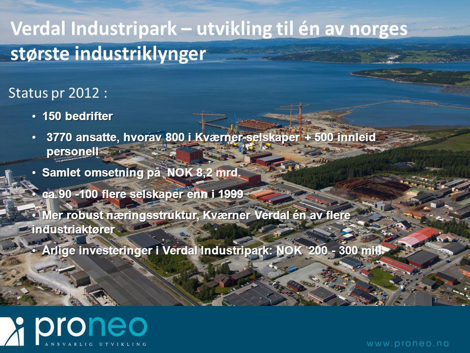 Verdal Industripark – utvikling til én av norges største industriklynger Status pr 2012 : • 150 bedrifter •3770 ansatte, hvorav 800 i Kværner-selskaper + 500 innleid personell • Samlet omsetning på NOK 8,2 mrd.
