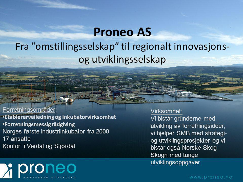 17 ansatte Kontor i Verdal og Stjørdal Forretningsområder: • Etablererveiledning og inkubatorvirksomhet • Forretningsmessig rådgiving Norges første in