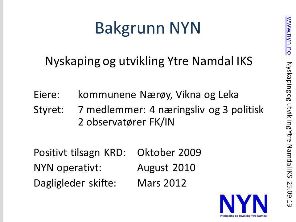 Bakgrunn NYN Nyskaping og utvikling Ytre Namdal IKS Eiere: kommunene Nærøy, Vikna og Leka Styret: 7 medlemmer: 4 næringsliv og 3 politisk 2 observatør