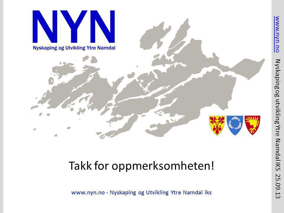 www.nyn.no - Nyskaping og Utvikling Ytre Namdal iks Takk for oppmerksomheten! www.nyn.nowww.nyn.no Nyskaping og utvikling Ytre Namdal IKS 25.09.13
