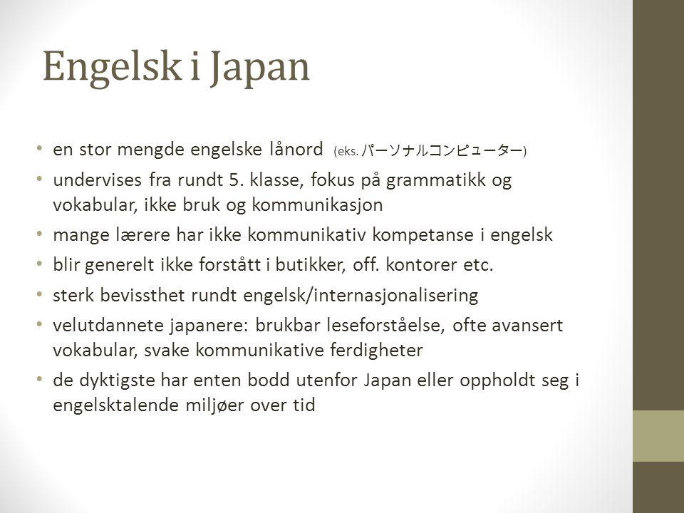 Landsomfattende undersøkelse om engelskfaget i japanske ungdomsskoler Hvordan liker du faget.