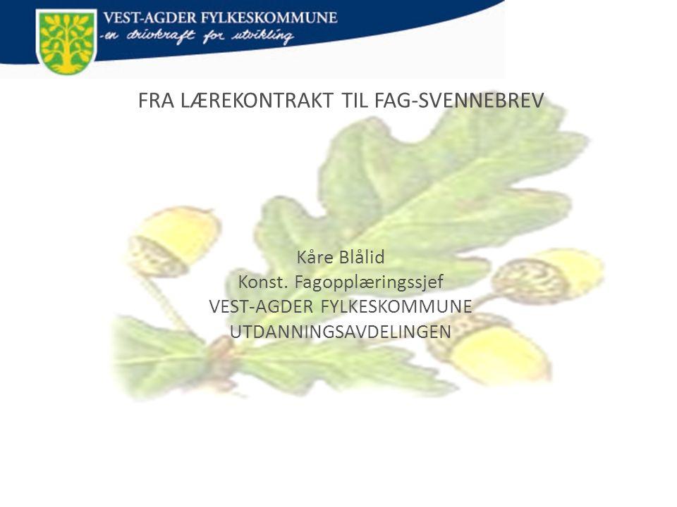 FRA LÆREKONTRAKT TIL FAG-SVENNEBREV Kåre Blålid Konst.