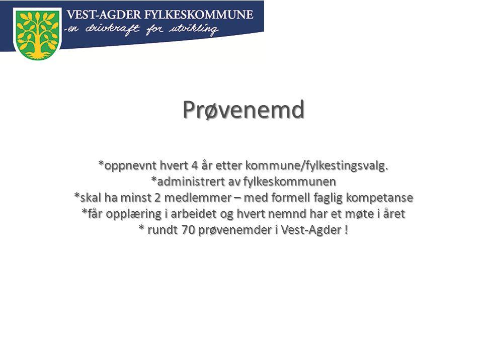 Prøvenemd *oppnevnt hvert 4 år etter kommune/fylkestingsvalg.