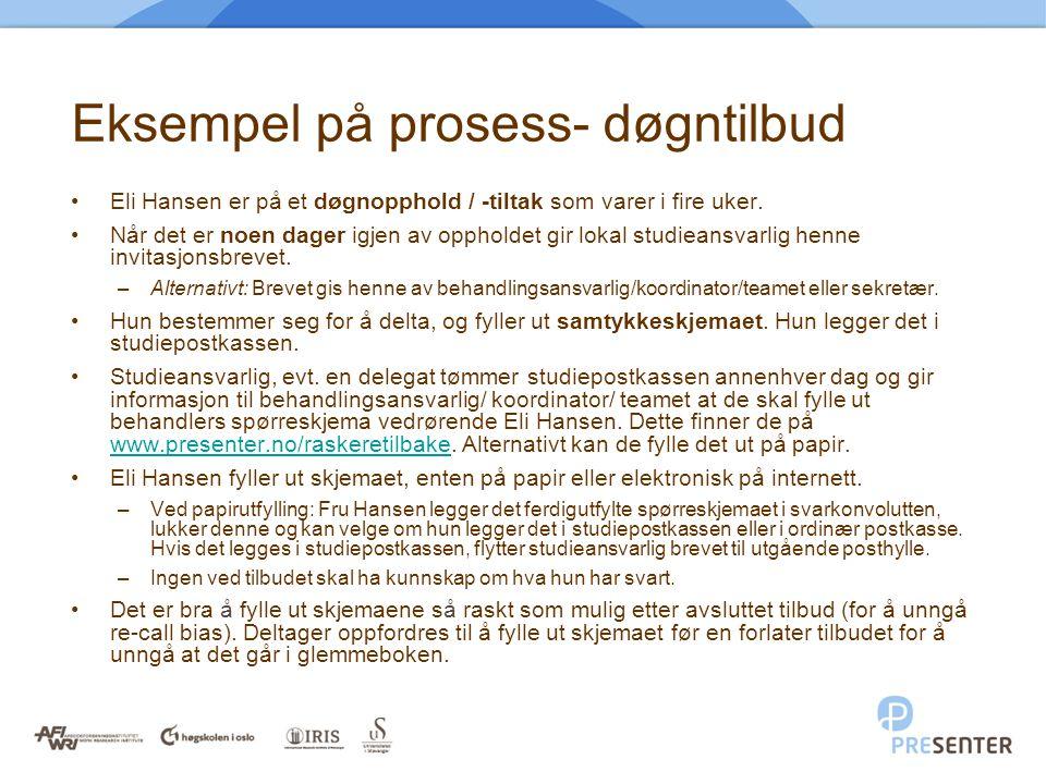 Eksempel på prosess- døgntilbud •Eli Hansen er på et døgnopphold / -tiltak som varer i fire uker. •Når det er noen dager igjen av oppholdet gir lokal