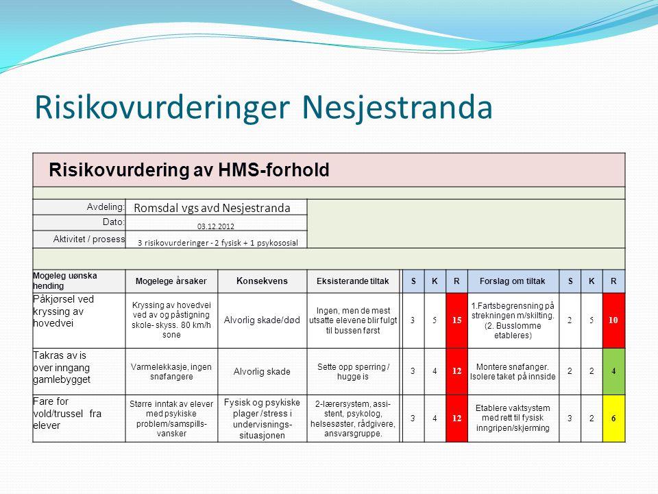 Risikovurderinger Nesjestranda Risikovurdering av HMS-forhold Avdeling: Romsdal vgs avd Nesjestranda Dato: 03.12.2012 Aktivitet / prosess 3 risikovurd