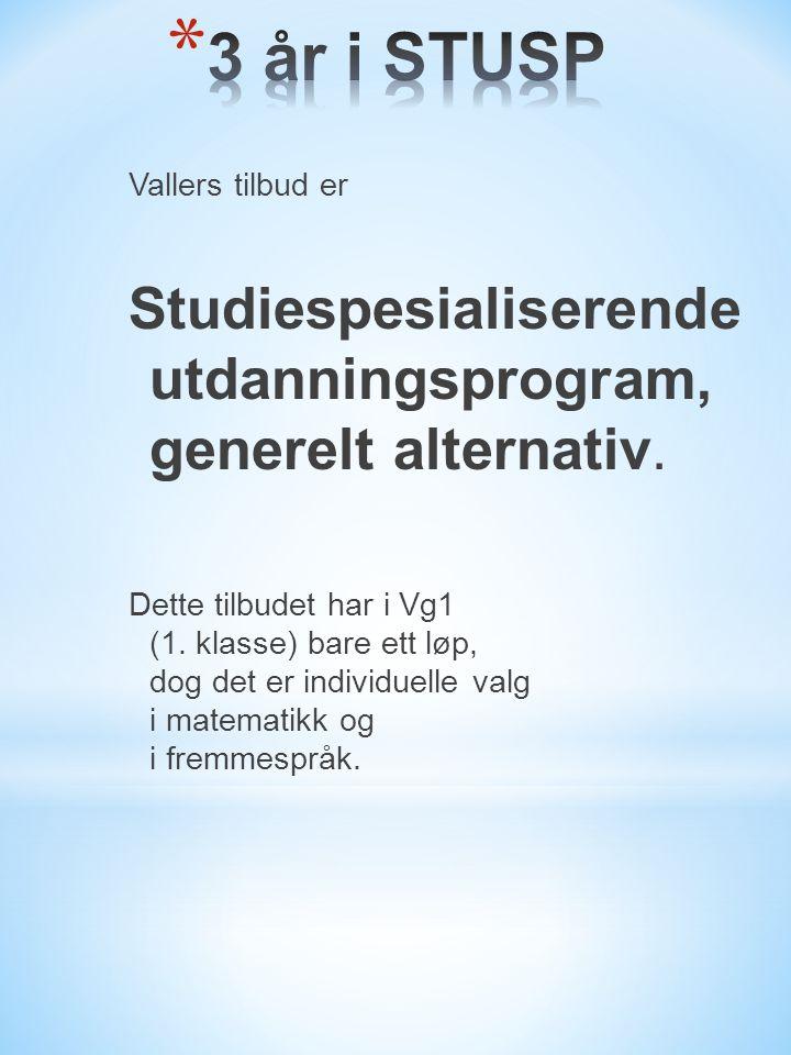 Vallers tilbud er Studiespesialiserende utdanningsprogram, generelt alternativ.