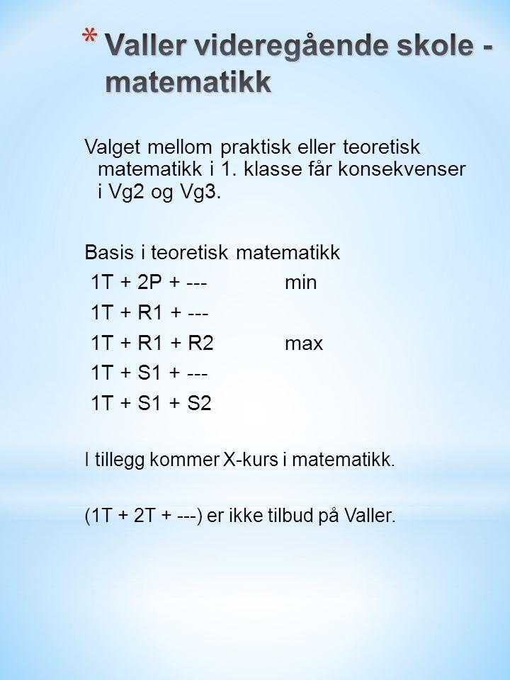 Valget mellom praktisk eller teoretisk matematikk i 1.
