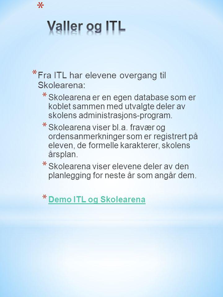 * Fra ITL har elevene overgang til Skolearena: * Skolearena er en egen database som er koblet sammen med utvalgte deler av skolens administrasjons-program.