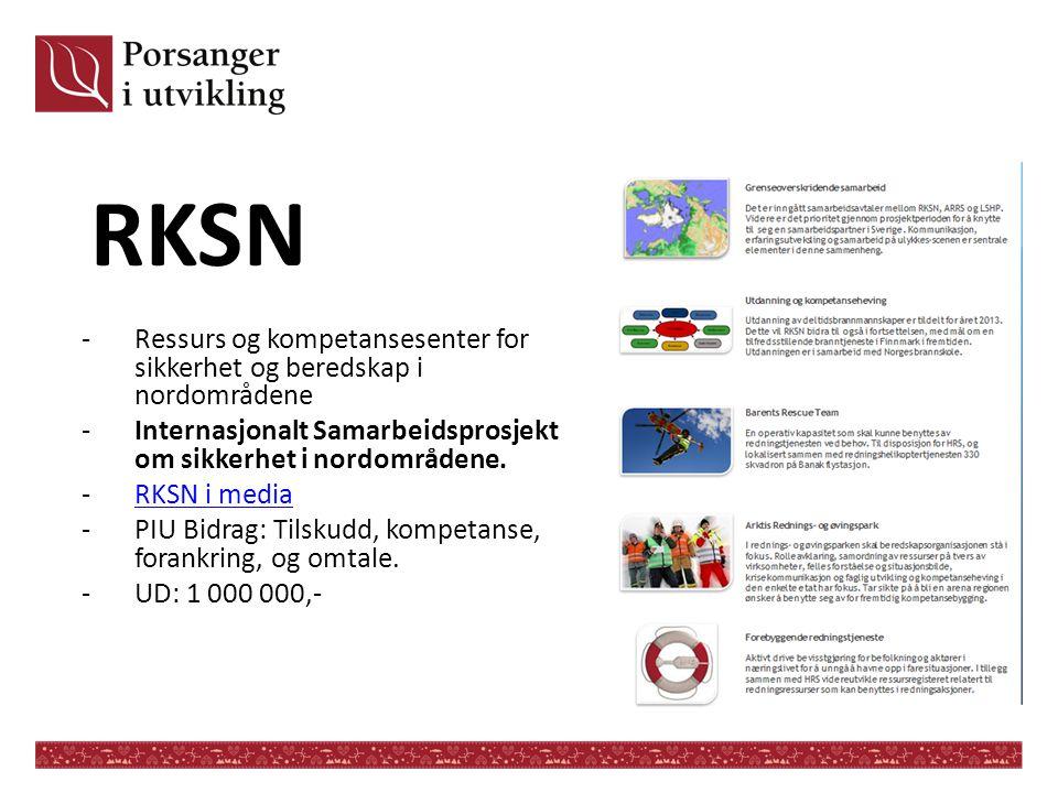 RKSN -Ressurs og kompetansesenter for sikkerhet og beredskap i nordområdene -Internasjonalt Samarbeidsprosjekt om sikkerhet i nordområdene. -RKSN i me