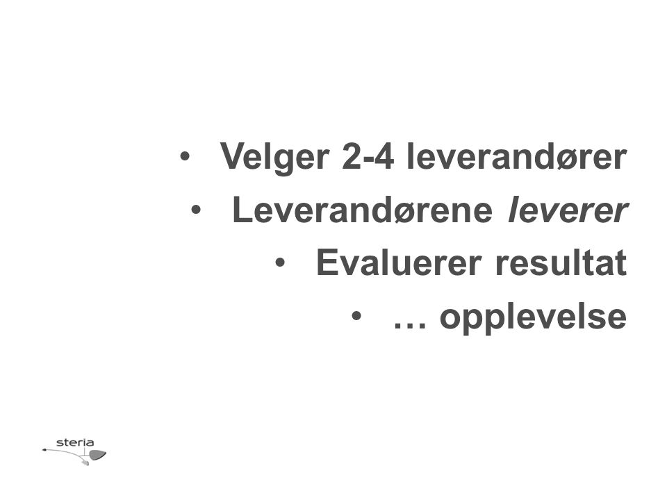 •Velger 2-4 leverandører •Leverandørene leverer •Evaluerer resultat •… opplevelse