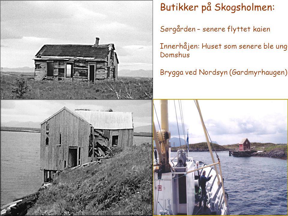 Butikker på Skogsholmen: Sørgården – senere flyttet kaien Innerhåjen: Huset som senere ble ung- Domshus Brygga ved Nordsyn (Gardmyrhaugen)