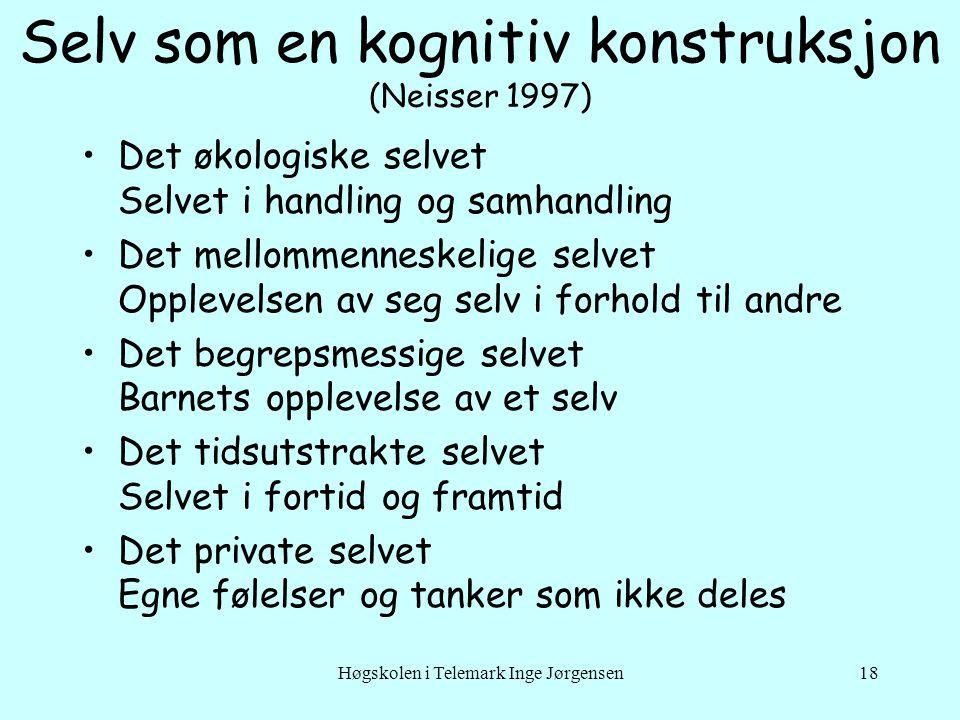 Høgskolen i Telemark Inge Jørgensen18 Selv som en kognitiv konstruksjon (Neisser 1997) •Det økologiske selvet Selvet i handling og samhandling •Det me