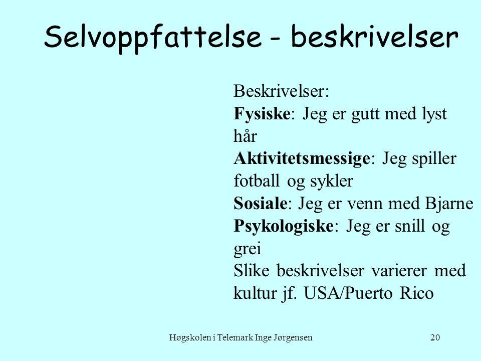 Høgskolen i Telemark Inge Jørgensen20 Selvoppfattelse - beskrivelser Beskrivelser: Fysiske: Jeg er gutt med lyst hår Aktivitetsmessige: Jeg spiller fo