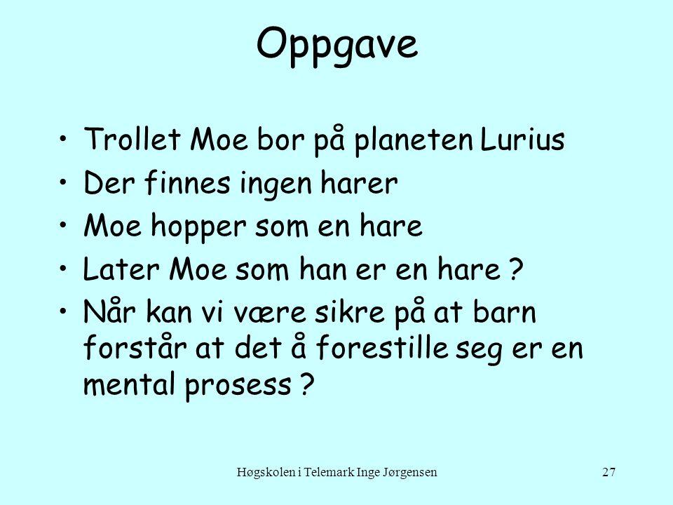 Høgskolen i Telemark Inge Jørgensen27 Oppgave •Trollet Moe bor på planeten Lurius •Der finnes ingen harer •Moe hopper som en hare •Later Moe som han e