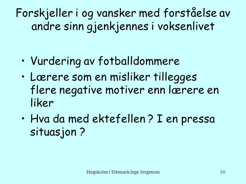 Høgskolen i Telemark Inge Jørgensen30 Forskjeller i og vansker med forståelse av andre sinn gjenkjennes i voksenlivet •Vurdering av fotballdommere •Læ