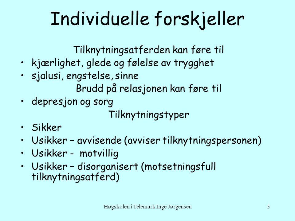Høgskolen i Telemark Inge Jørgensen5 Individuelle forskjeller Tilknytningsatferden kan føre til •kjærlighet, glede og følelse av trygghet •sjalusi, en