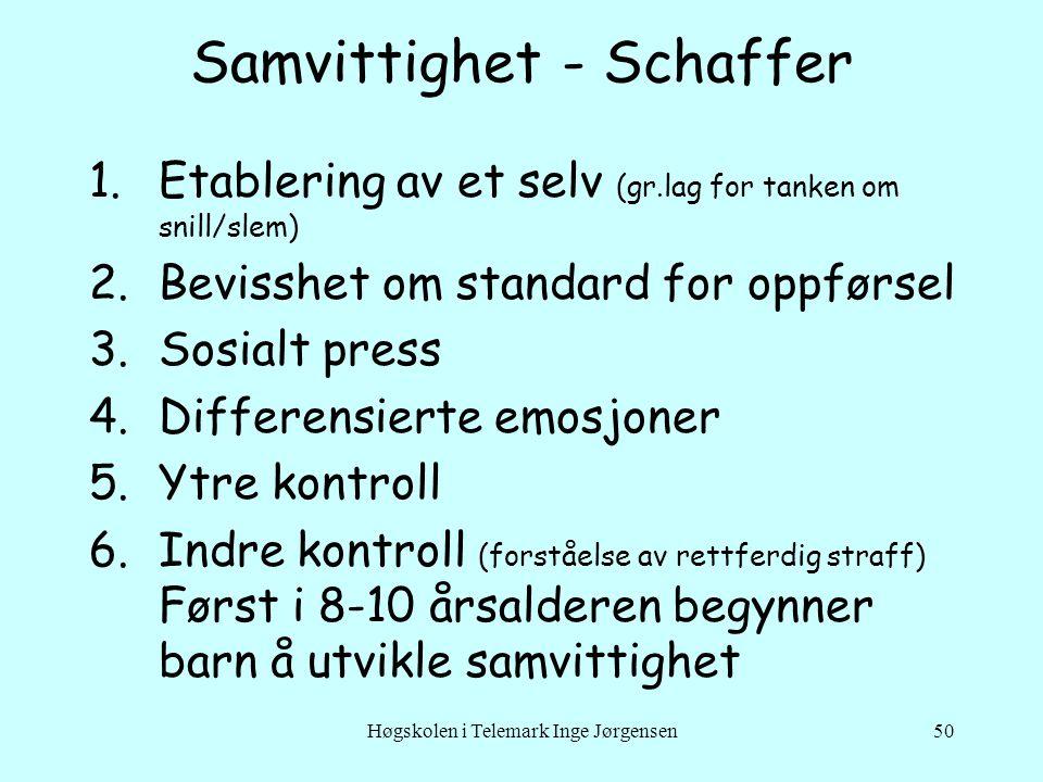 Høgskolen i Telemark Inge Jørgensen50 Samvittighet - Schaffer 1.Etablering av et selv (gr.lag for tanken om snill/slem) 2.Bevisshet om standard for op