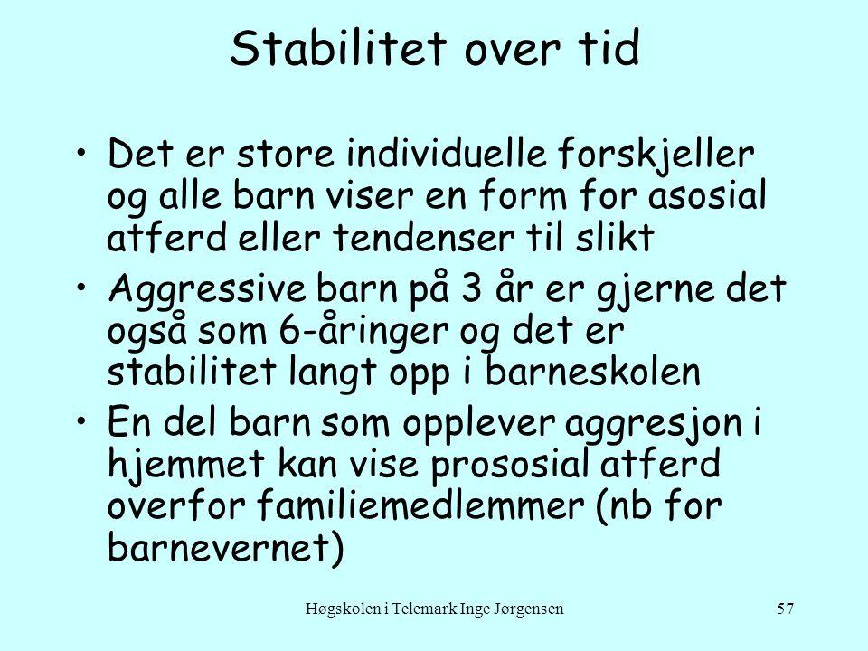 Høgskolen i Telemark Inge Jørgensen57 Stabilitet over tid •Det er store individuelle forskjeller og alle barn viser en form for asosial atferd eller t