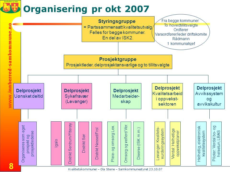 www.innherred-samkommune.no Kvalitetskommuner – Ola Stene – Samkommunestyret 23.10.07 8 Styringsgruppe = Partssammensatt kvalitetsutvalg Felles for begge kommuner.