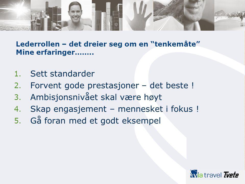 1. Sett standarder 2. Forvent gode prestasjoner – det beste ! 3. Ambisjonsnivået skal være høyt 4. Skap engasjement – mennesket i fokus ! 5. Gå foran