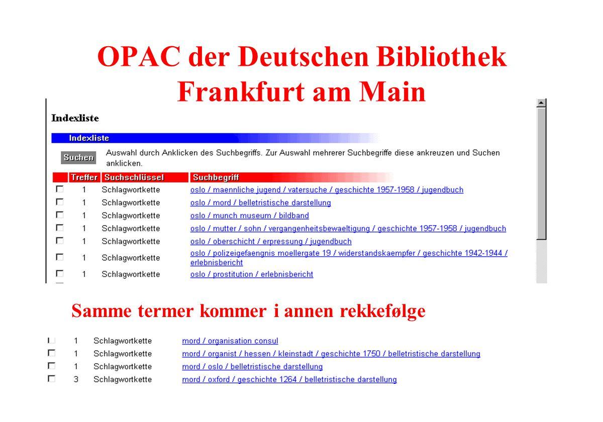 Samme termer kommer i annen rekkefølge OPAC der Deutschen Bibliothek Frankfurt am Main