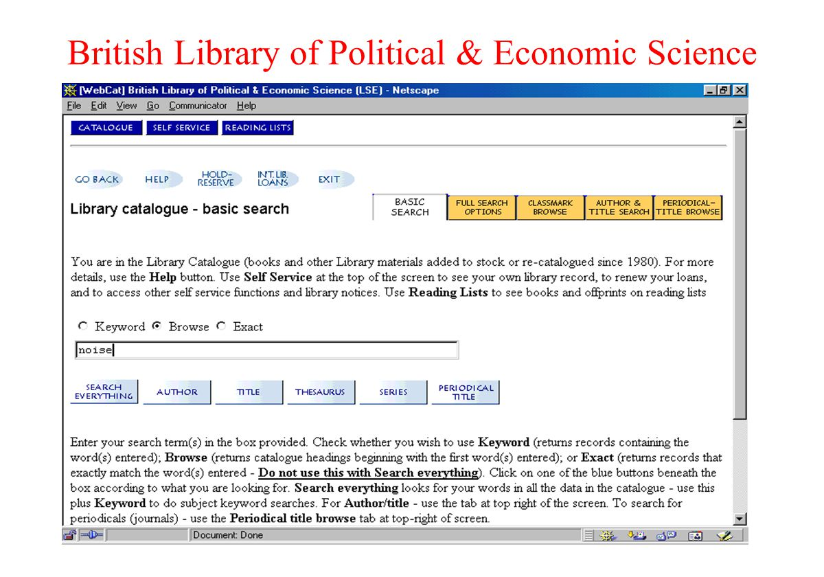British Library of Political & Economic Science