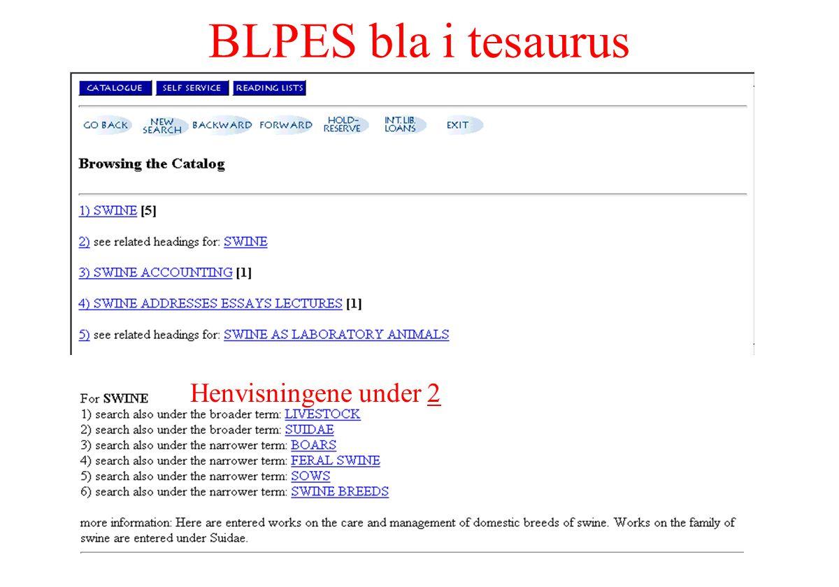 BLPES bla i tesaurus Henvisningene under 2