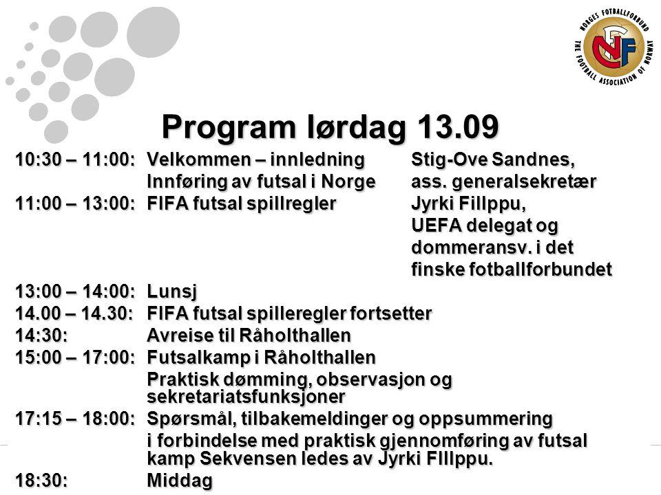 Program lørdag 13.09 10:30 – 11:00:Velkommen – innledningStig-Ove Sandnes, Innføring av futsal i Norgeass.