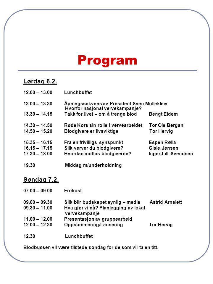 Program Lørdag 6.2. 12.00 – 13.00 Lunchbuffet 13.00 – 13.30 Åpningssekvens av President Sven Mollekleiv Hvorfor nasjonal vervekampanje? 13.30 – 14.15