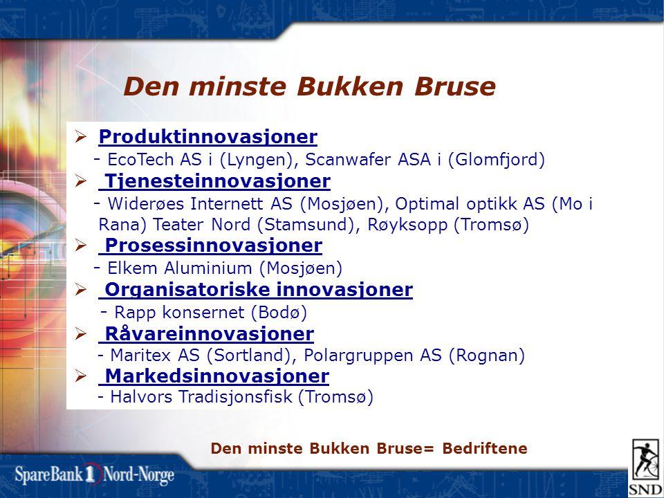 Den minste Bukken Bruse  Produktinnovasjoner - EcoTech AS i (Lyngen), Scanwafer ASA i (Glomfjord)  Tjenesteinnovasjoner - Widerøes Internett AS (Mos